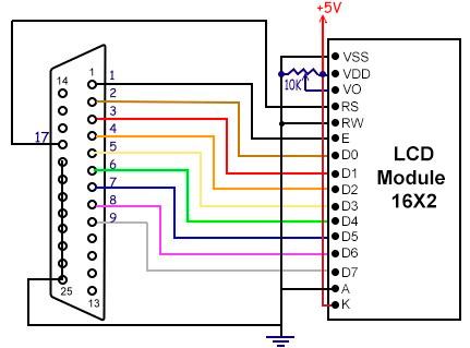 Esquema LCD 16x2 LPT