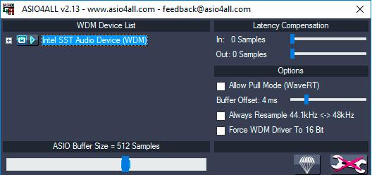 Configurações ASIO4ALL